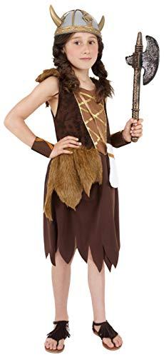 Smiffys Kinder Wikinger Mädchen Kostüm, Kleid und Armmanschetten, Größe: L, ()