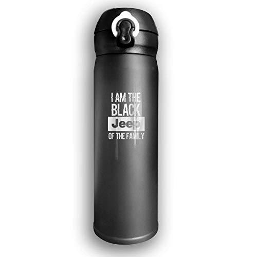 Bestqe Bottiglia Acqua in Acciaio Inox,Borraccia Termica Isolamento Sottovuoto a Doppia Parete I Am The Black Jeep of The Family Stainless Steel Leak Proof Travel Coffee Mug 17 Oz
