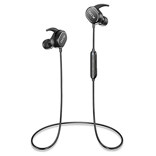 QCY Auriculares Bluetooth, In Ear Auriculares Deportivos Inalámbricos Ligeros Resistentes al Sudor para Correr / Gimnasio / Entrenamiento (Sonido Hi Fi, micrófono incorporado, Cancelación de Ruido)