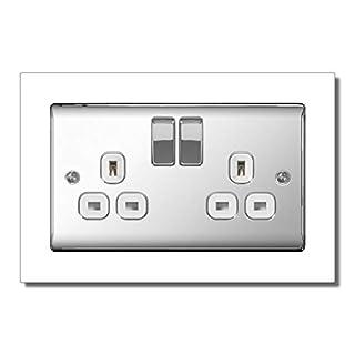 White Double Light Switch Surround Acrylic Finger Plate Panel Socket