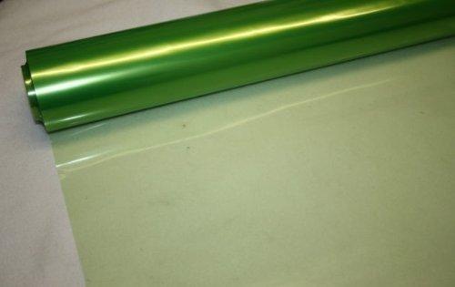 Metallic Scroll (100 m x 80 cm, PALE LIME GREEN Tint Getönte Zellophanfolie Folie-Blumen Floristen Geschenkpapier Rolle - 100 Meter Rolle-Wholesale BUMPER)