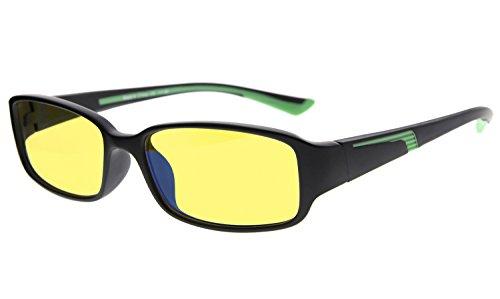 Eyekepper Computer-Lesebrille mit mehr als 94% Anti Blaulicht in Gelbe getönte Gläser (Schwarz/Grün Arm +0.00)