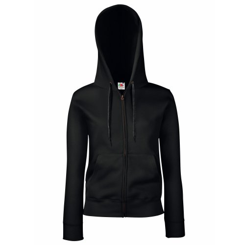 Fruit Of The Loom Lady-Fit Damen Sweatshirt Jacke mit Kapuze (L) (schwarz) L,Schwarz