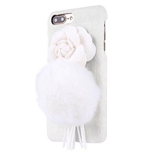 Hülle für iPhone 7 plus , Schutzhülle Für iPhone 7 Plus 3D Kamelie Blume Pelzball Plüsch Tuch Abdeckung PC Schutzhülle ,hülle für iPhone 7 plus , case for iphone 7 plus ( Color : White ) White