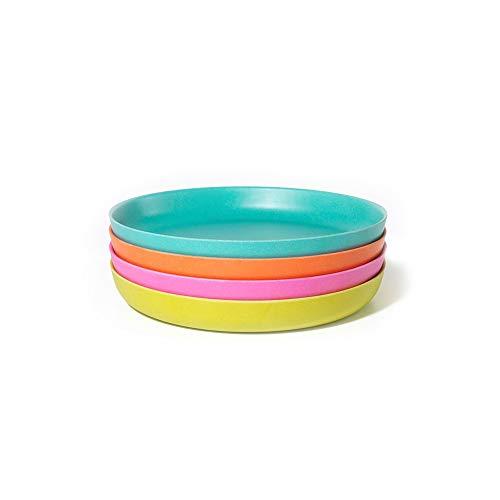 EKOBO Bambino Kinderteller-Set, 4 Teller, farblich sortiert, aus Bambus / Melamin, FSC-zertifiziert, BPA-frei, spülmaschinengeeignet