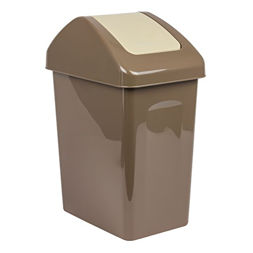 25L Mülleimer Mülltonne Abfalleimer Mülltrenner Eimer Schwingdeckel braun