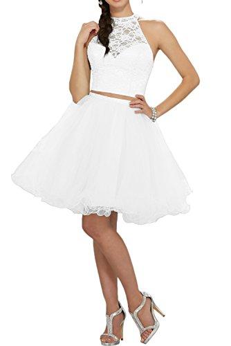 Gorgeous Bride Zärtlich Rundkragen A-Linie Knielang Tanzkleider 2017 Damen Partykleider Abendkleider Kurz Cocktailkleider Ballkleider Weiß
