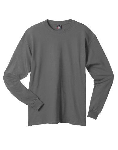 Hanes Beefy-T Langarm-T-Shirt, Erwachsene Smoke Gray