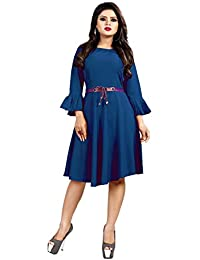 Sabaira American Crepe Fabric Light Blue Color Butterfly Sleeve / 3/4Th Sleeve Fully Stitched Dress (SBRWD17_S_ Western Dress)