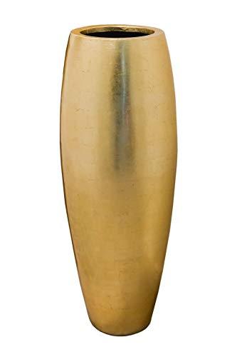 VIVANNO Pflanzkübel Pflanzgefäß Blumenkübel exklusiv Fiberglas Gold Magnum - 80 x 23 cm