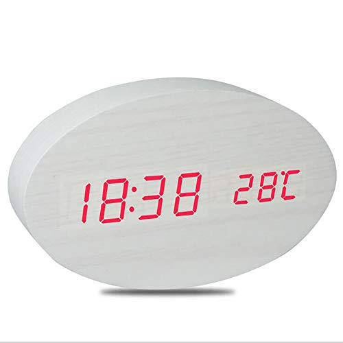 Wecker Uhr in Holzoptik digital - Digitalwecker Anzeige von Uhrzeit Temperatur Datum - Alarm Clock mit USB Kabel in Schwarz mit LED,White Clock-kabel