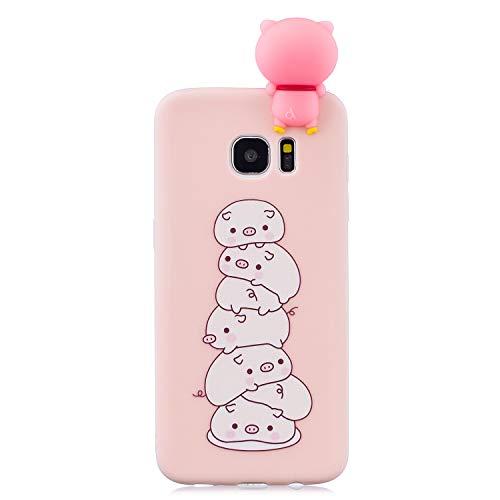 Sunrive Für Samsung Galaxy S7 Edge Hülle Silikon, Handyhülle matt Schutzhülle Etui 3D Case Backcover für Samsung Galaxy S7 Edge(L Schwein 1) MEHRWEG+Gratis Universal Eingabestift