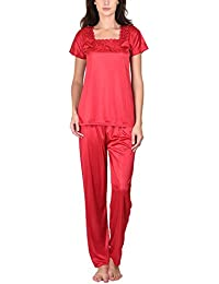 Go Glam Women's Nightsuit Set (Deep Red)
