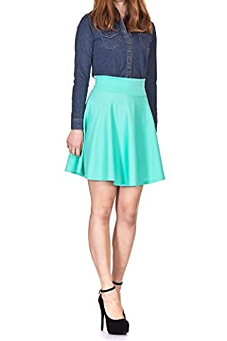 Pastel Stretchy High Waist A-line Flared Skater Mini Skirt (S, Mint)