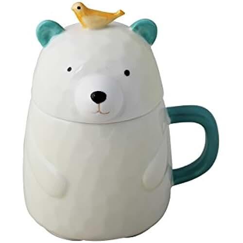 figuras kawaii porcelana fria UPSTYLE 3d Cute Cartoon Animal porcelana Mini oso café leche taza de cerámica taza de té vaso con tapa y asa para té, agua, leche y café, 13.8oz (400ml), A050, Bird