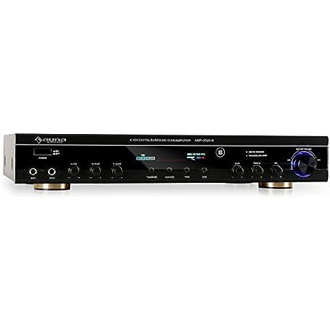 auna AMP-2520-B amplificador de 5 canales (400 W de potencia, 2 entradas frontales para micrófonos con volumen ajustable, RCA, mando a distancia, home cinema, radio FM, karaoke)