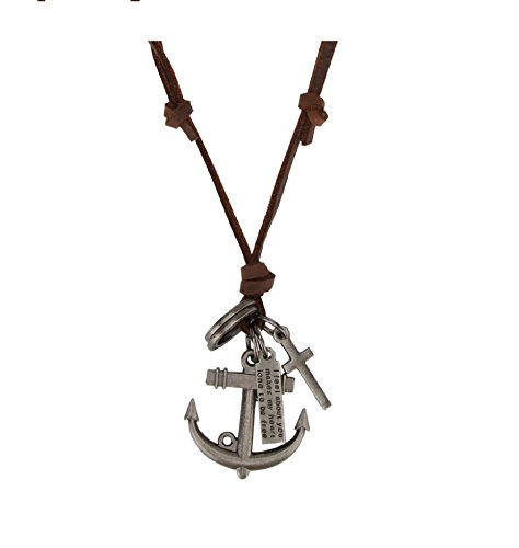Stylepotion Party Wear Mens Jewellery Anchor Cross and Scroll Plate Locket Pendant with Brown Leather String Chain Stylish Military Dog Tags for Men Boys