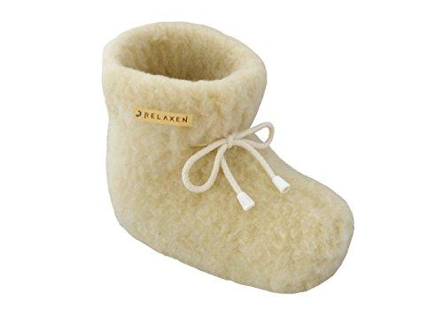 Relaxen Warme Hüttenschuhe Hausschuhe aus Schafwolle Unisex Winter Damen Herren Pantoffeln Anti-Rutsch-Sohle Haus Stiefel mit Schnürsenkel Bogen 36-45 (43, Creme)