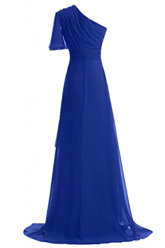 Sunvary 2014 Summer una linea Fashion Evening Dresses One-Shoudler in Chiffon Prom abiti lunghi Royal Blue