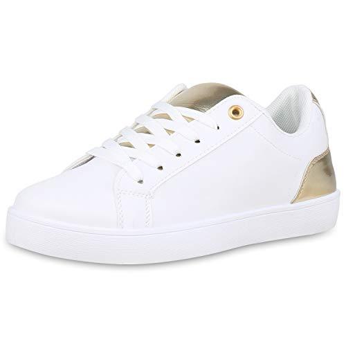SCARPE VITA Damen Sneaker Low Leder-Optik Schuhe Schnürer Bequeme Freizeit Turnschuhe Metallic Schnürschuhe 180458 Weiss Gold Lack 40 - Gold Damen Sneaker