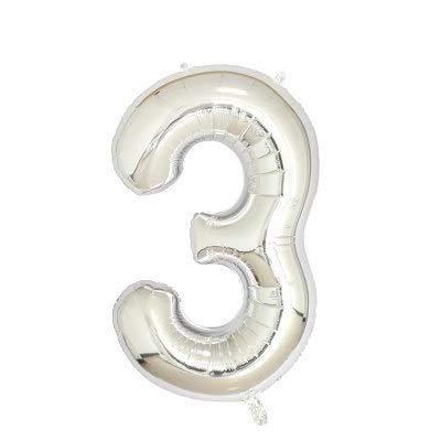 (Horrenz – 101,6 cm Rotgold Zahlen-Folienballons große Ziffern Helium Luftballons Hochzeit Dekoration Geburtstag Party Supplies, Silber, No 3)