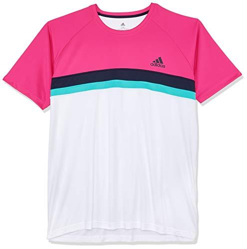 adidas Herren Club Colorblock Kurzarm T-Shirt, Shock Pink, M