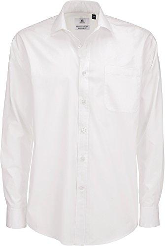 B&C Herren Businesshemd Mens Smart Long Sleeve Poplin Shirt, Weiß (White 000), 15.5 (Herstellergröße: Medium)