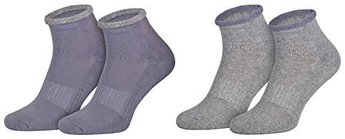 2 Paar ABS Haus-Socken Frauen Damen Bettsocken Halbfrottee Kuschelsocken Anti-Rutsch Sohle Lila Grau 39 40 41 42 -