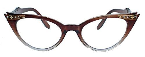 50er Jahre Fashion Brille im Vintage Look Brillengestell Nerdbrille mit Strass Applikation Klarglas Glitzersteine KK37 (Braun Ombre)