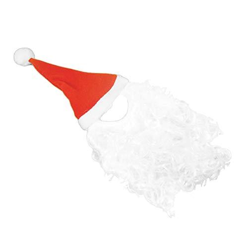 WUYANSE Roter Weihnachtshut des Haustieres mit langem Bart Haustier Hund Plüsch Nikolausmütze Weihnachten Urlaub Kostüm Party Supplies Dekoration Weihnachten Geschenk ()