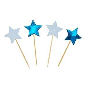 Neviti 775547 Little Star - Juego de 20 palillos para magdalenas (7 x 2,5 x 6,5 cm), color azul