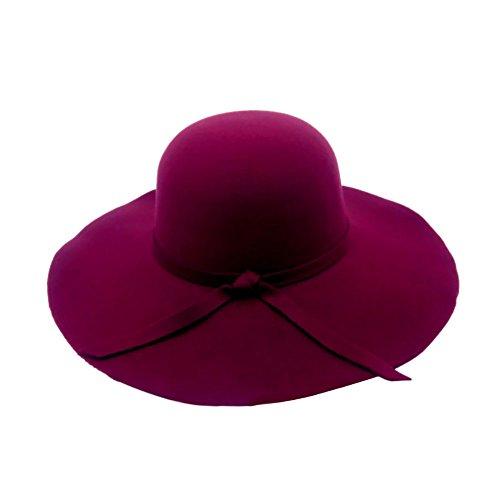 iShine Women's Faux Retro Wool Foldable Wide Brim Fashion Felt Bowler Fedoras Summer Beach Hats Lady Floppy Cap with Bowknot