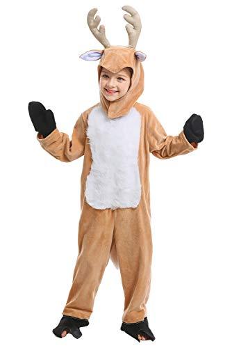 Huiyemy Hirsch Kostüm Kinderkostüm Tier Kostüm Elch Kostüm Hirsch Jumpsuit Schlafanzug Elch Rollenspiel Spieluniformen - Hirsch Reh Kostüm