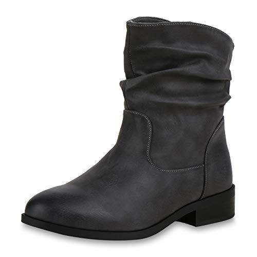 SCARPE VITA Damen Stiefeletten Schlupfstiefel Gefütterte Slouch Boots Profil 173269 Grau Gefüttert 41 (Slouch-stiefeletten)