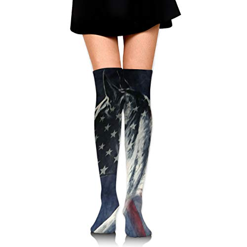 PecoStar Damen Rodeo American Flag Wild Big Horse Overknee Socken bunt Kostüm Cosplay Party Strumpfhose (Rodeo Star Kostüm)