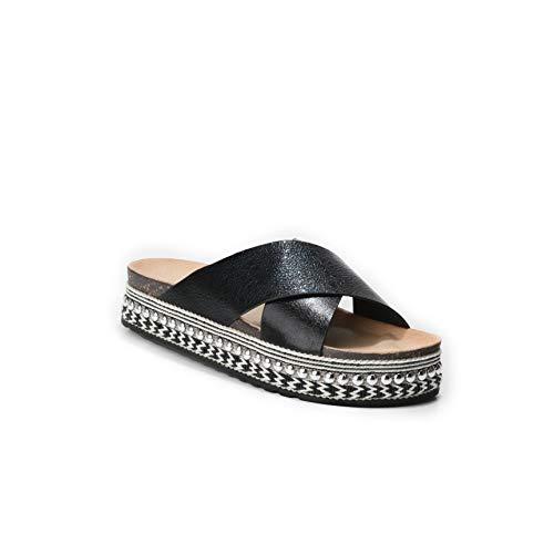 HERIXO Damen Schuhe Slippers Pantoletten Metallic Verzierung Nieten überkreuzt Plateau-Sohle hohe Sandalen Wildlederimitat Leoparden-Muster Kreuzband(38 EU, Black) - Aus Verzierungen