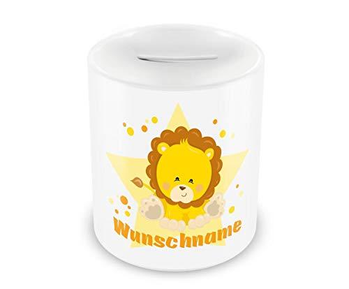 Samunshi® Kinder Spardose mit Namen und Löwe als Motiv für Kinder - Jungen und Mädchen Sparschwein Nr.9: weiß H:95mm / D:82mm