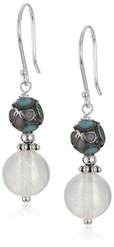 Amazon Sterling Silver Cloisonne with Rose Quartz Drop Earrings