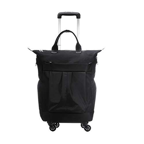 Cooralledtooere 20-Zoll-Nylon wasserdichter Universal-Rad-Trolley-Koffer, Trolley-Langer und kurzer Trolley-Koffer für das Fahrgestell, Bequeme Aufbewahrung (Farbe : Schwarz)