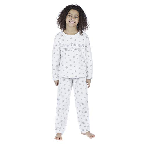 Selena Girl Girls Soft Fleece Luna Sleep Under The Stars Pyjamas KN142  White 7-8 2f49de1d6