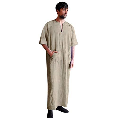 Ashui Herren Robe Männer Ethnische Roben Kurzarm Islamischer Moslemischer Mittlerer Osten Maxikleid Lose Einfarbig Vintage Kleid Kaftan Baumwolle Leinen Taschen Robe -
