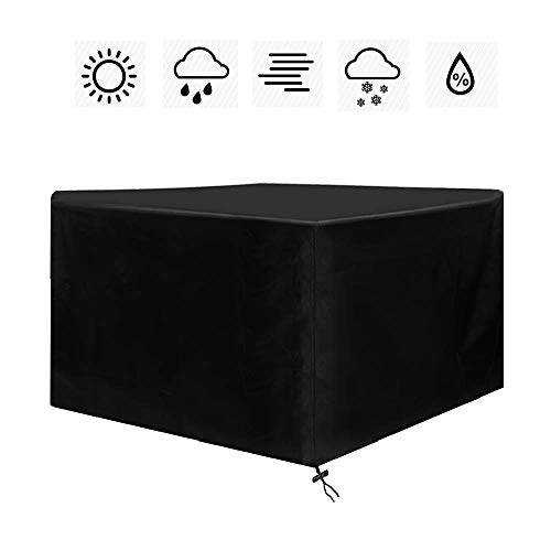 Yaheetech Cube Garden Furniture Covers Waterproof Outdoor Furniture Cover with Carry Bag Heavy Duty Patio Furniture Covers Breathable 600D Oxford Fabric Black, 120x120x74cm