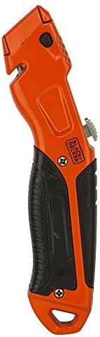 Black+Decker Metal Retractable Utility Knife with 3 Blades, Orange/Black - BDHT10395, 2 Years Warranty