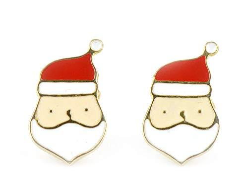 Monkimau 750 Gold plattierte Schneemann und Weihnachtsmann Ohrringe Kinder-Schmuck Damen Frauen Mädchen-Ohrstecker Geschenk-e (Santa Clause)