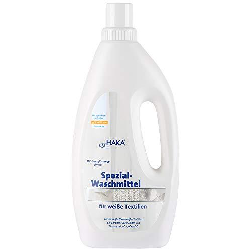 HAKA Spezialwaschmittel für Weißes I 1 Liter I Waschmittel für Strahlend weiße Wäsche I Gardinenwaschmittel I 33 Waschgänge I