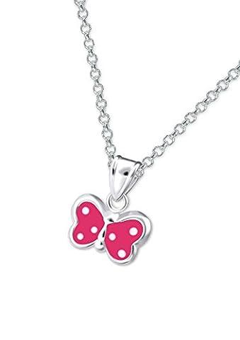 Laimons - Collier avec pendentif papillon - enfant - argent