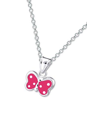 Laimons Kids Kinder-Anhänger mit Kette Schmetterling Pink, Weiß Sterling Silber 925
