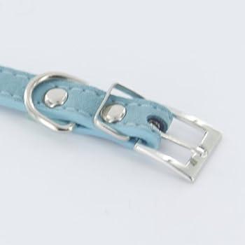 Collier de Chien / Chat Réglable en Cuir Artificiel et Strass (XS, Bleu)
