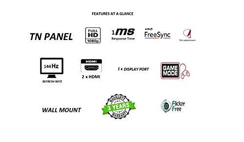 "Acer KG241QP 23.6"" 1 MS 144 Hz Gaming Monitor - 300nits - 2xHDMI 1xDisplayport - AMD Free Sync"