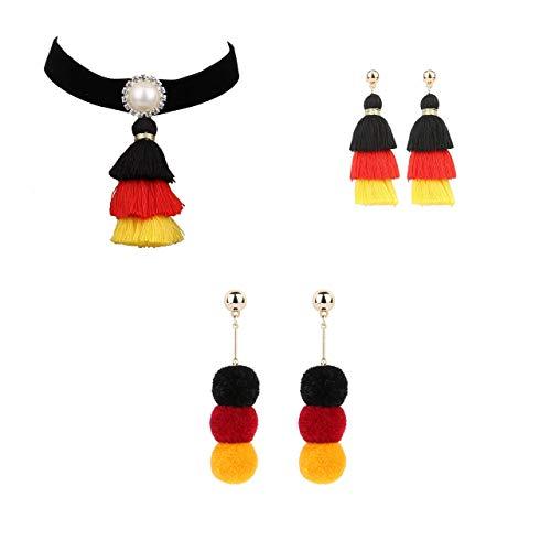 4U Modeschmuck Set, 2 Ohrhänger m.1 Choker, Deutschland Fanartikeln f. Mädchen Frauen Mädel Kinder in Schwarz, Rot, Gold